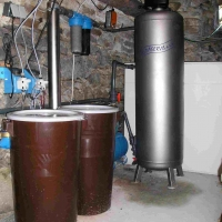 Water treatment plant with two chemical tanks, two dosing pumps, two tube filters and TVK filter.