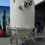 Plastic accumulation tank in production.