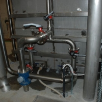 Stainless steel piping leading to OF open filters – in Modrava, Pilsen Region.